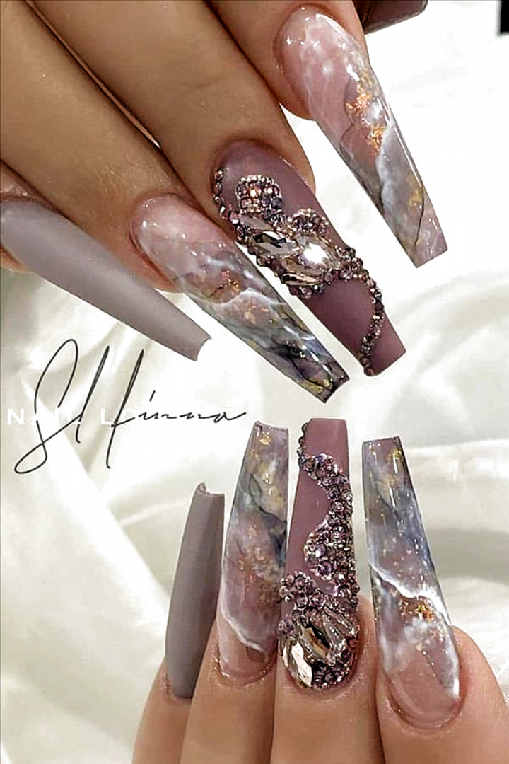 Natural acrylic rhinestone coffin nails design you cannot miss – Abby FASHION ST…