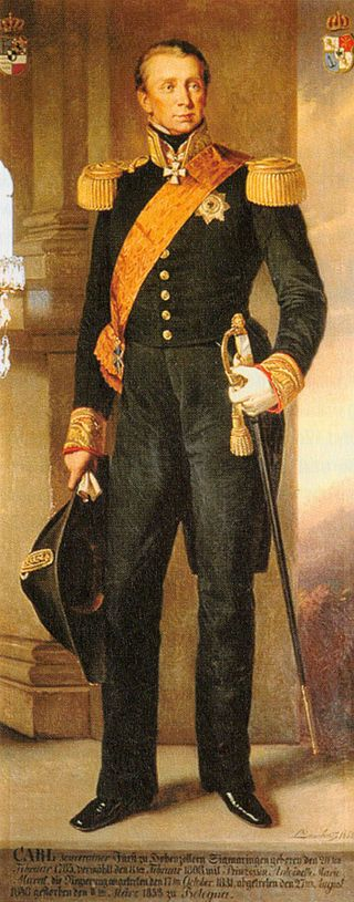 Charles, Prince of Hohenzollern-Sigmaringen (20 February 1785 – 11 March 1853), husband of Marie Antoinette Murat, was Prince of Hohenzollern-Sigmaringen from 1831 to 1848. He introduced a number of modernizing reforms in his state.