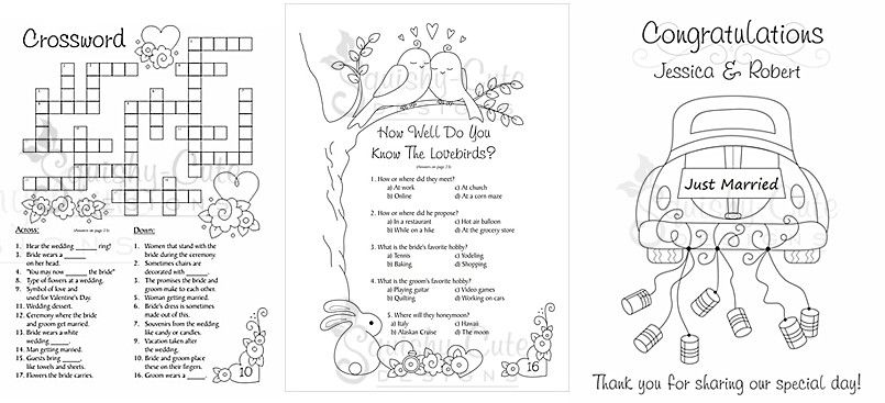 personalized wedding coloring books - kids wedding favors ...