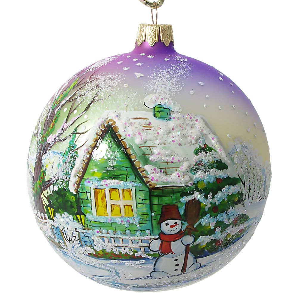 Ukrainian christmas ornaments -  Snowman Hand Painted Christmas Ball Made In Ukraine