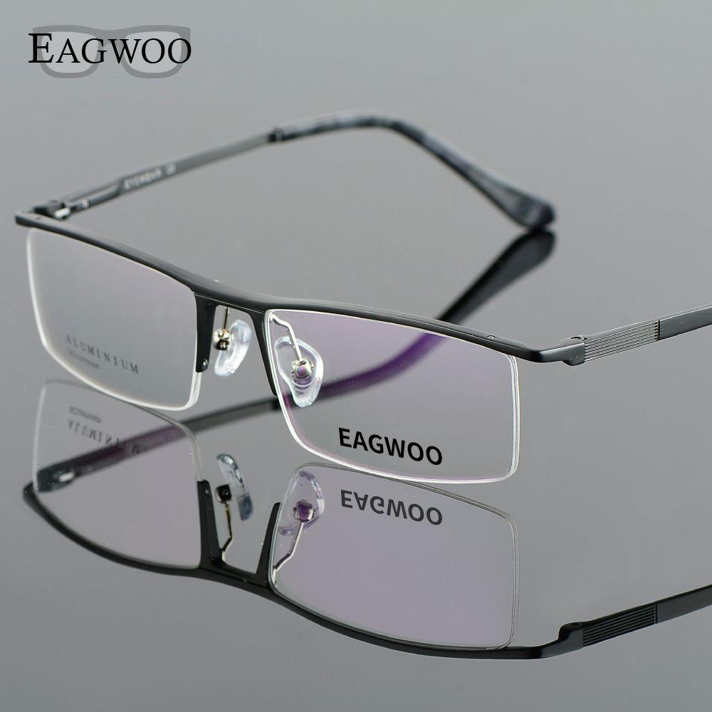 Sports frames for eyeglasses - Aluminum Alloy Half Rim Optical Frame Prescription Men Rectangular Green Eyeglasses Business Glasses Sports Spectacle 823022