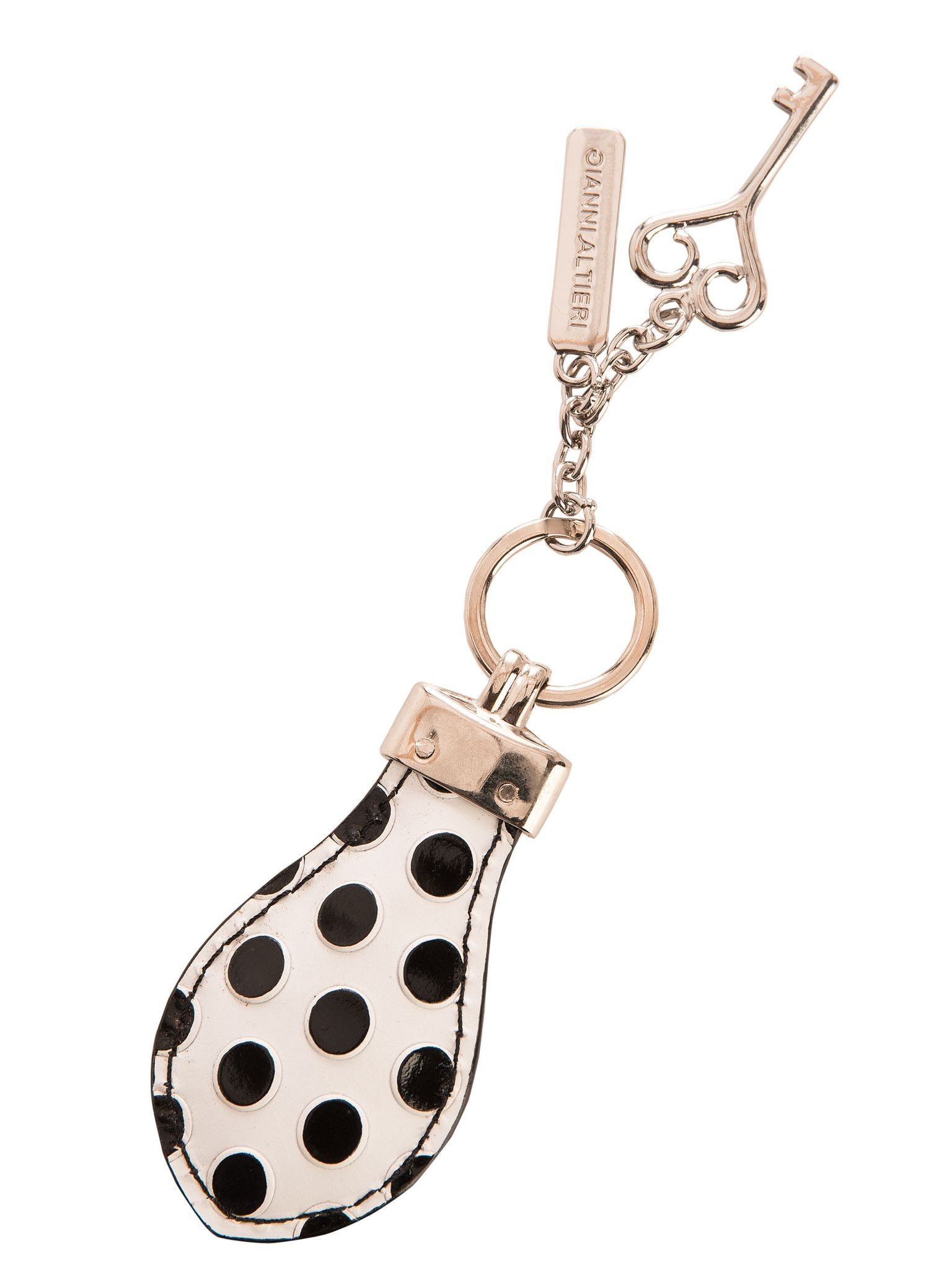 Teardrop Hand Painted Leather Keychain-White Dots