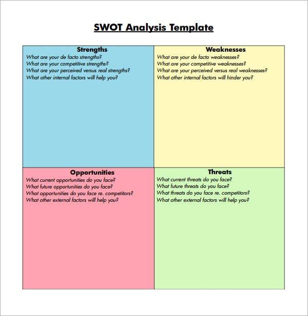 7 Free Swot Analysis Templates Download Plenty Of Free Templates Like 7 Free Swot Analysis Templates In Our Col Swot Analysis Template Swot Analysis Analysis