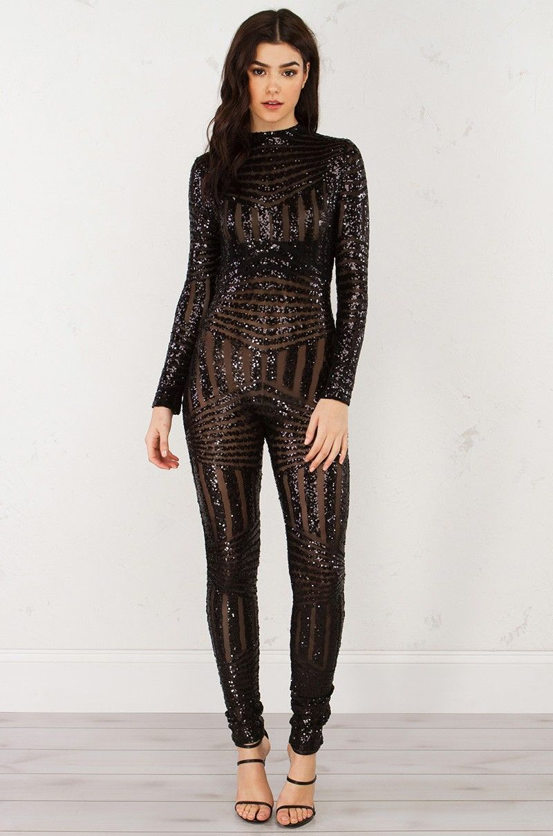 ee66689c2a Long Sleeve Sequin Jumpsuit in Black