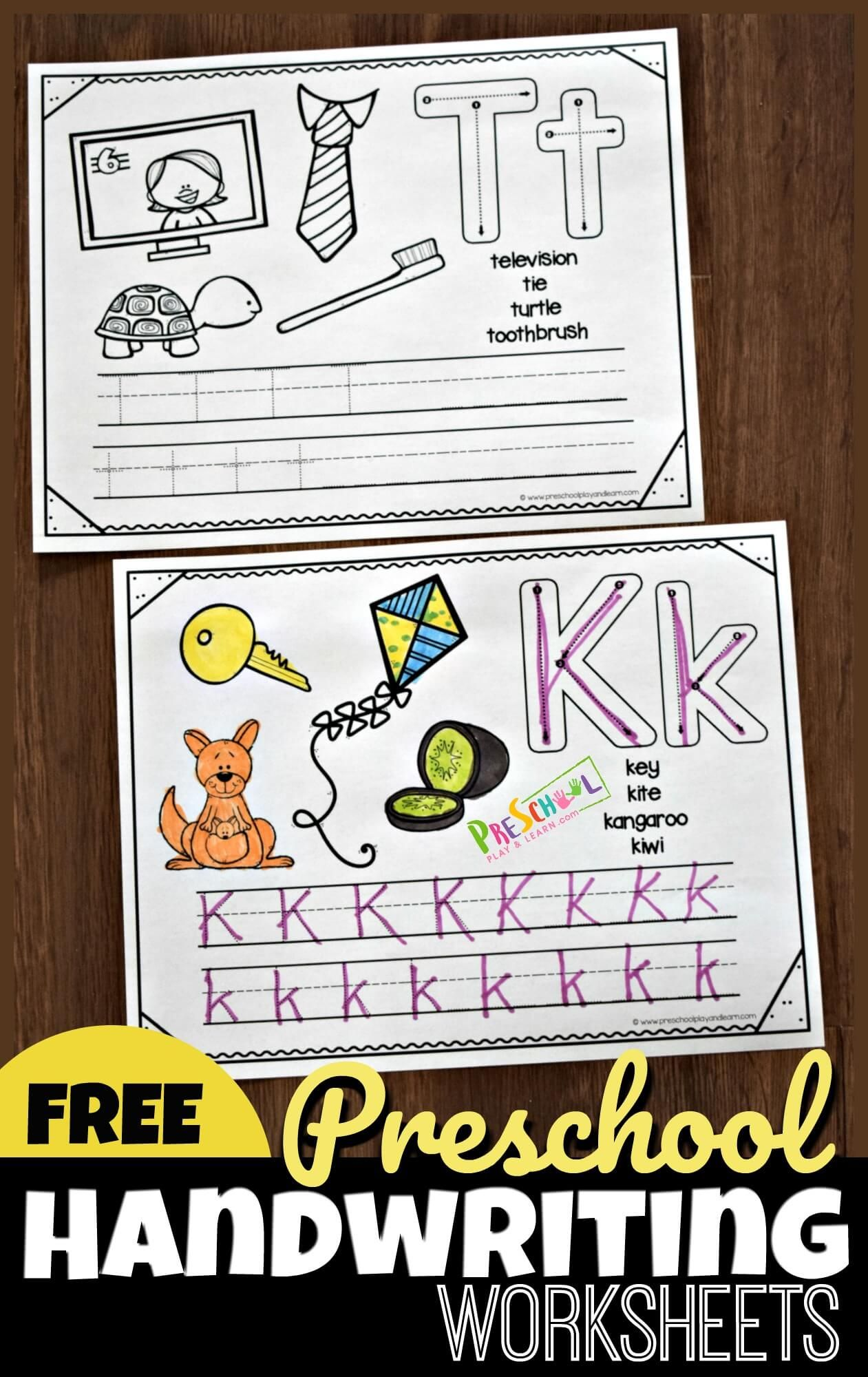 Preschool Handwriting Worksheets With Images