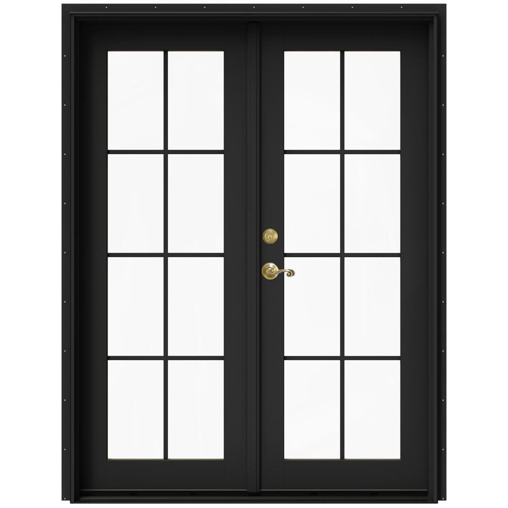 Jeld Wen 60 In X 80 In W 2500 Bronze Clad Wood Right Hand 8 Lite French Patio Door W Stained Interior Thdjw221900179 The Home Depot French Doors Patio Patio Doors French Doors