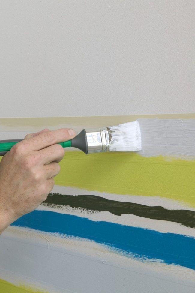 Wand Streichen Muster Selber Machen Streifen Drei Farben Wohnideen
