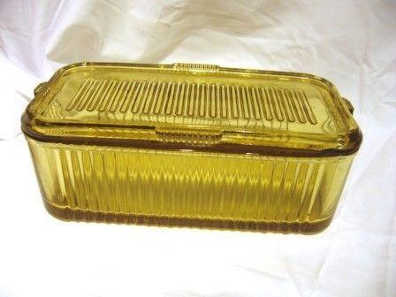Vintage Federal Amber Depression Glass FEG37 Vertical Line Refrigerator Dish