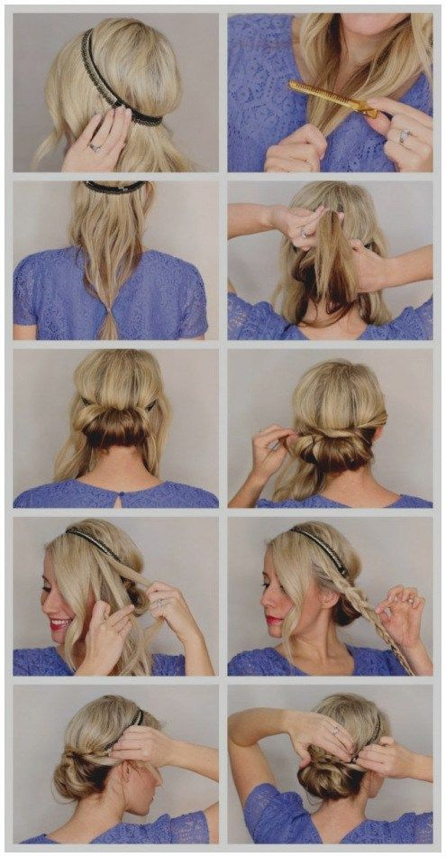 Schon Von Frisuren Mit Haartuch Um Selber Machen Haarband Anleitung Friseur Frisuren Haarband Frisur Anleitung Haarband Frisur Mittellange Haare Frisuren Einfach