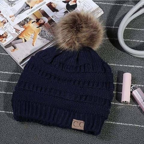 69487662cecdf JTVOVO Brand hats CC label women knitted beanie cap with thicker cashmere  female Pom pop winter warm caps hats girl casual cap