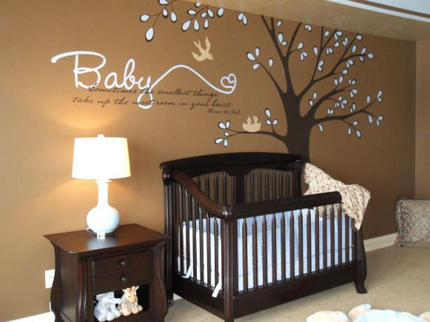 From Rate My Space: Sharon Kuplack brown boys nursery. Baby Blue Accents.  One of the most successful and unexpected color combinations is brown and baby blue. From the crib bedding to the leaves on the tree, these colors blend effortlessly for maximum impact. Design by RMS user Sharon Kuplack. Use pink, green, or yellow and it's for a girl.: