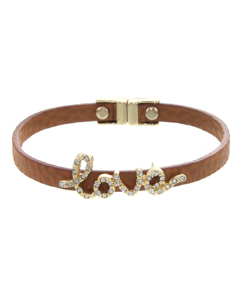 "ZB0375  Crystal pave ""Love"" faux leather bracelet.  -plated base metal, crystal, faux leather  -magnetic closure  -width: .5"", length: 7"" - ZB0375-GOLD BROWN"