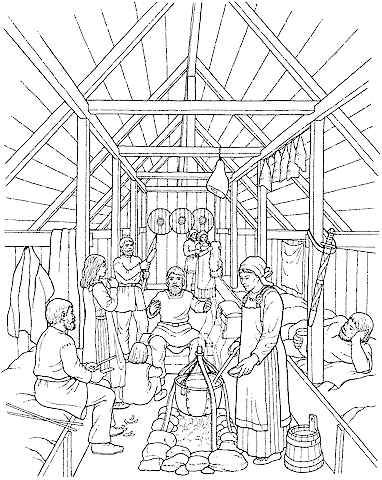 native american longhouse coloring pages - photo#14