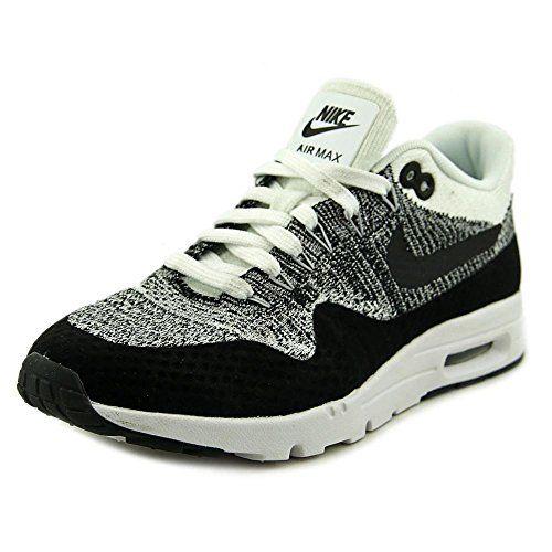 7f8f5643372c Nike Air Max 1 Ultra Flyknit Womens Running Shoes White Black 843387-100 (7  B(M) US)