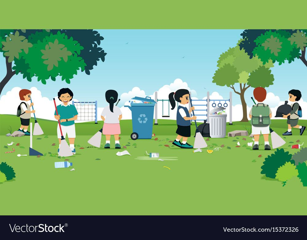 Children Are Cleaning Vector Image On Vectorstock Recycle Poster Drawing Competition Kids Behavior