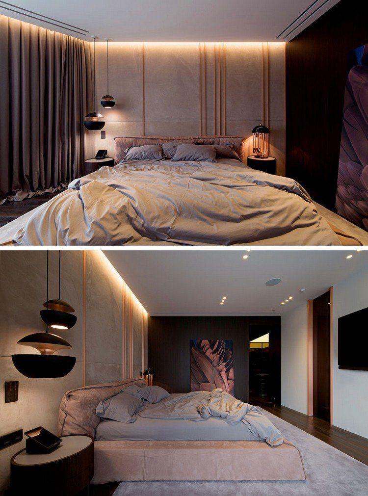 Luminaire cuivre dans un appartement design où règne l\u0027ambiance