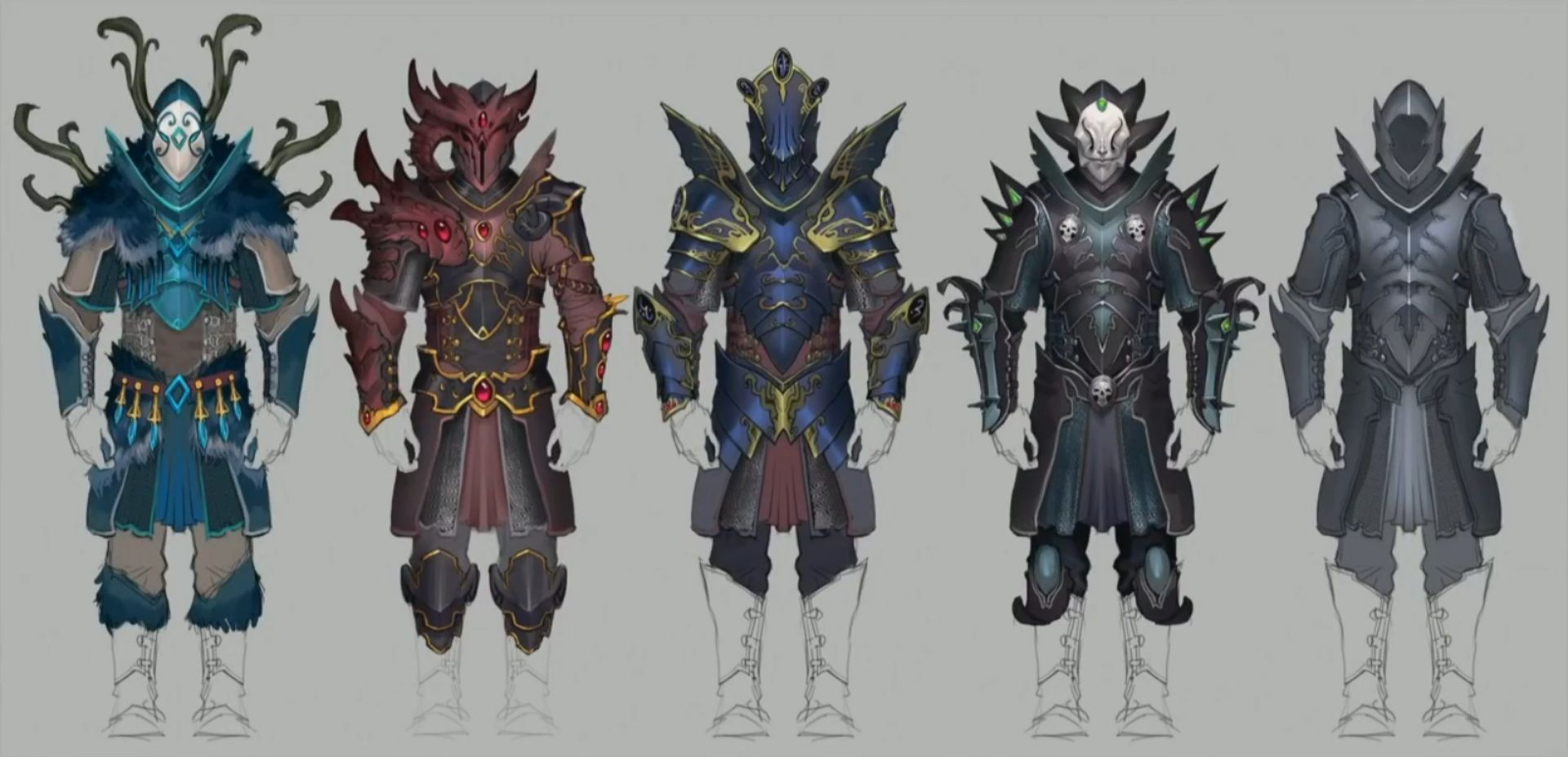Rs3 Heart Of The Gielinor Armors Concept Art Runescape All Styles Plus Hybrid And Basic Typeless One