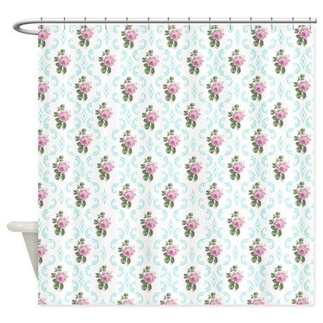 Vintage Victorian Pink Floral Shower Curtain | Pinterest | Floral ...