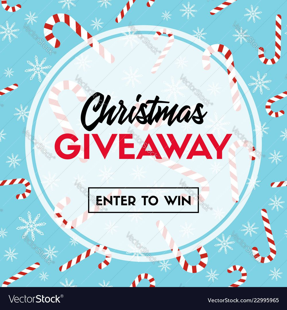 Christmas giveaway template with candy canes Vector Image