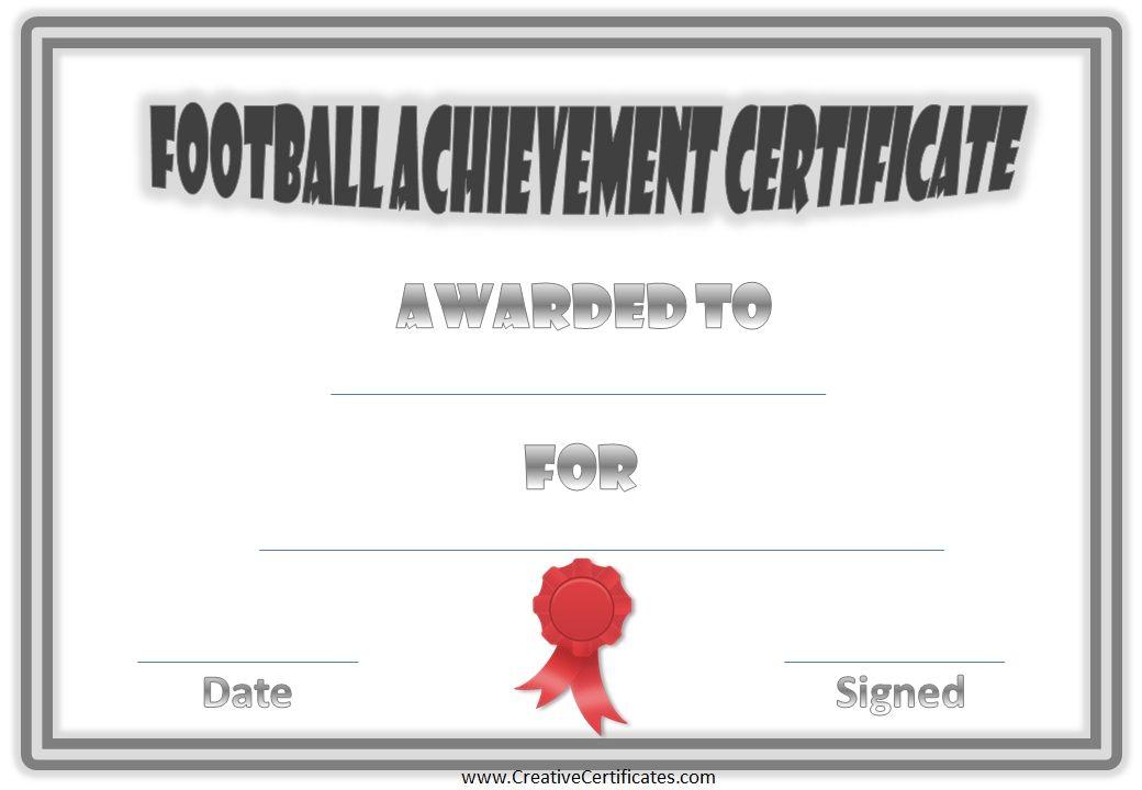 Sports Certificates Football Pinterest Certificate Football