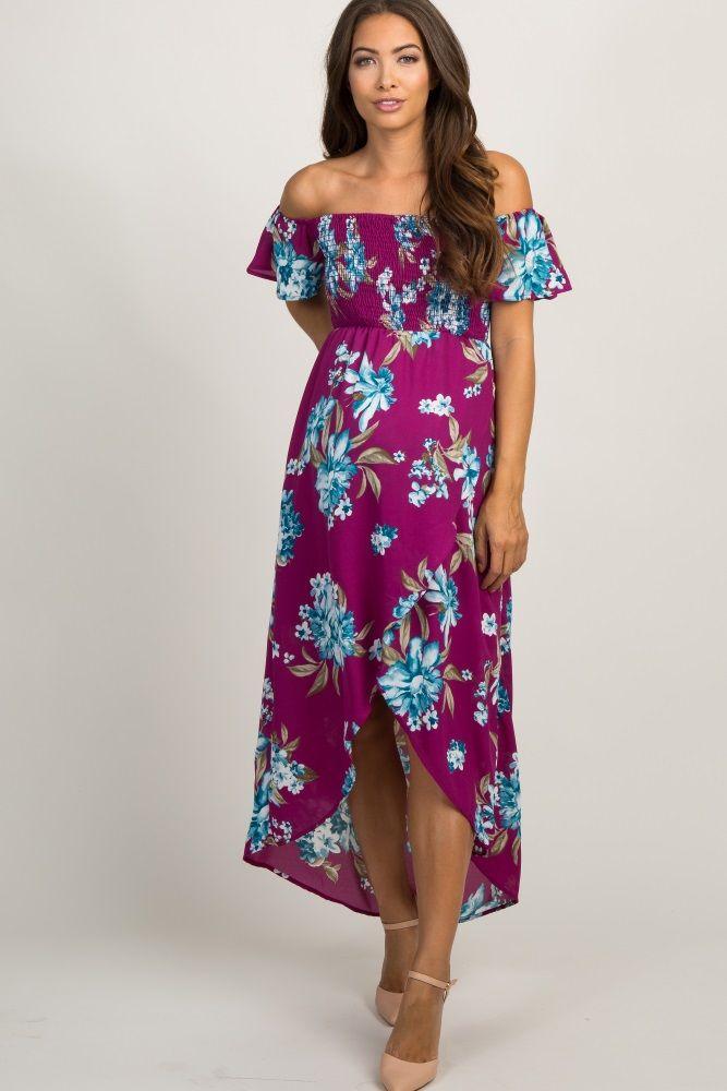 53189d6ecc42 Purple Floral Off Shoulder Smocked Wrap Maternity Dress
