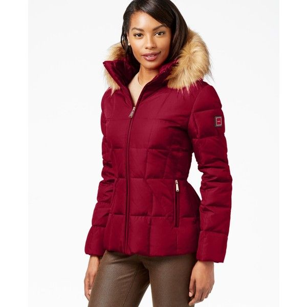 Calvin Klein Faux-Fur-Trim Hooded Puffer Down Coat ($110) ❤ liked on Polyvore featuring outerwear, coats, red, down puffer coat, red down coat, calvin klein, red coat and puffy coat