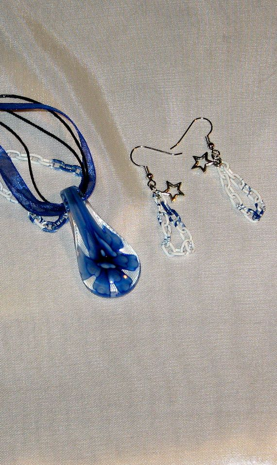 Blue Glass Drop Pendant Necklace and Matching by LadyLisaDesigns, $10.00