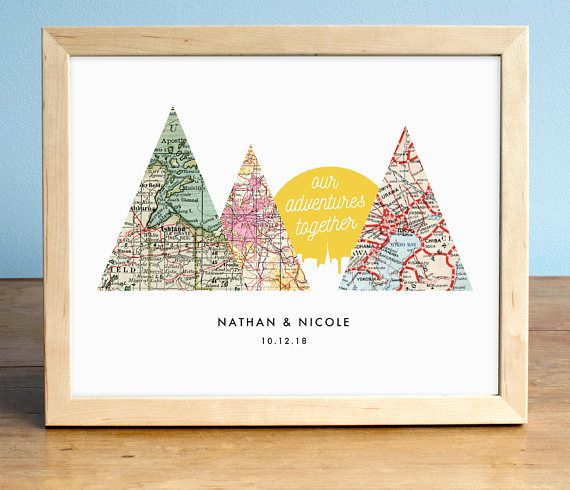 Adventure Together Sunset, 3 Map Mountain Print
