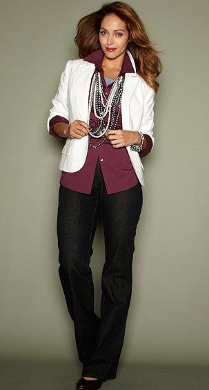 57cc0efdd40f Holiday Party Attire- I love the maroon paired with the chunky white ...