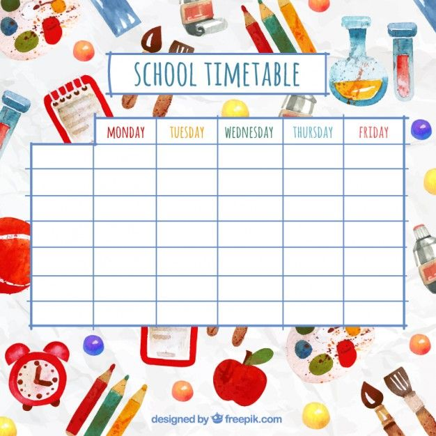 Funny School Timetable With Watercolor Elements  Class Timetable Template