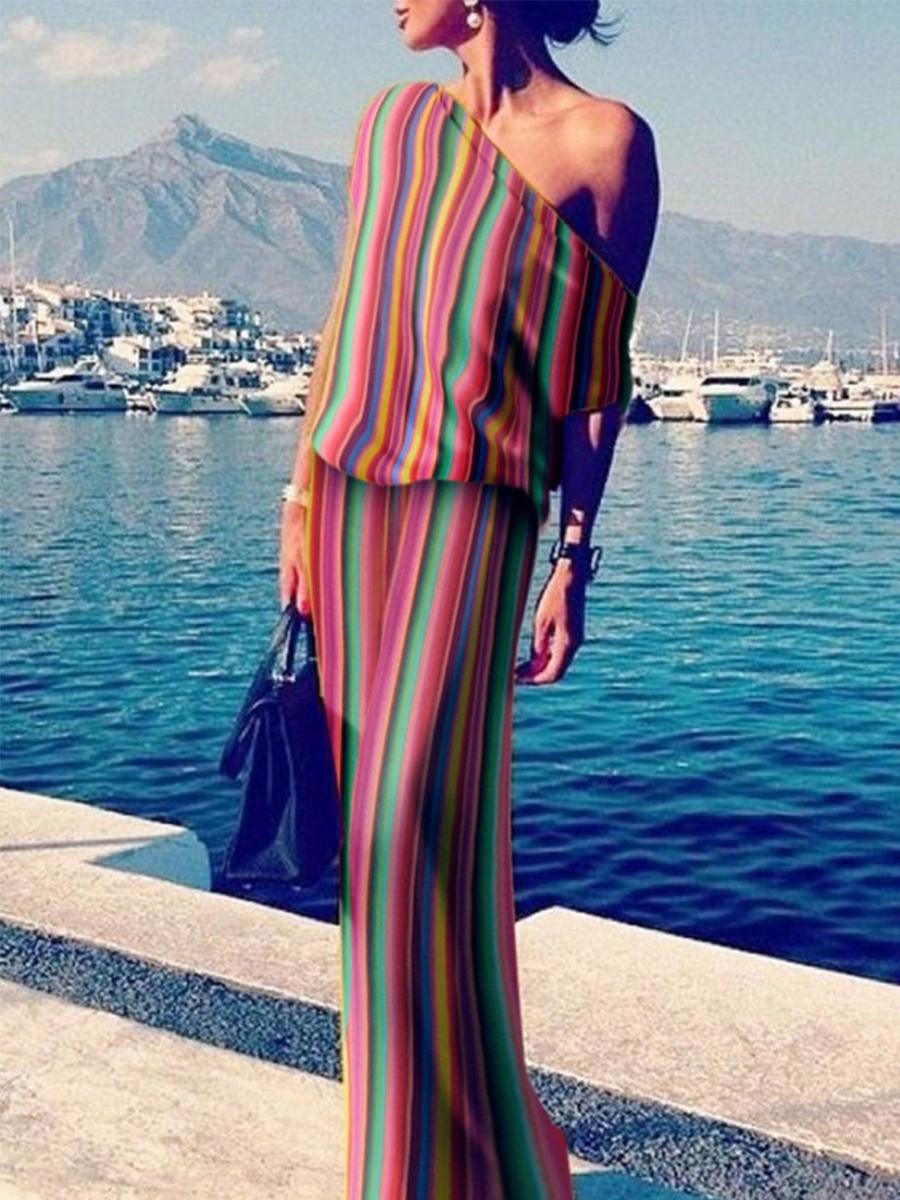 One Shoulder Colorful Plain Maxi Dresses