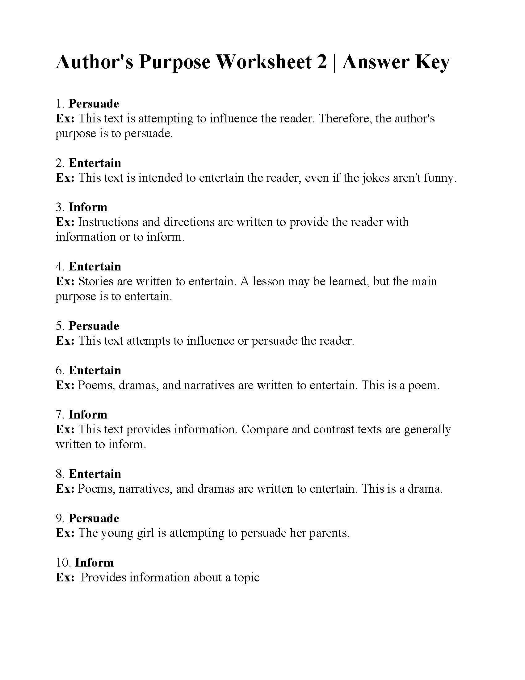 Science World Worksheet Answers This Is The Answer Key For The Author S Purpose Worksheet 2 In 2020 Author S Purpose Worksheet Authors Purpose Science Worksheets