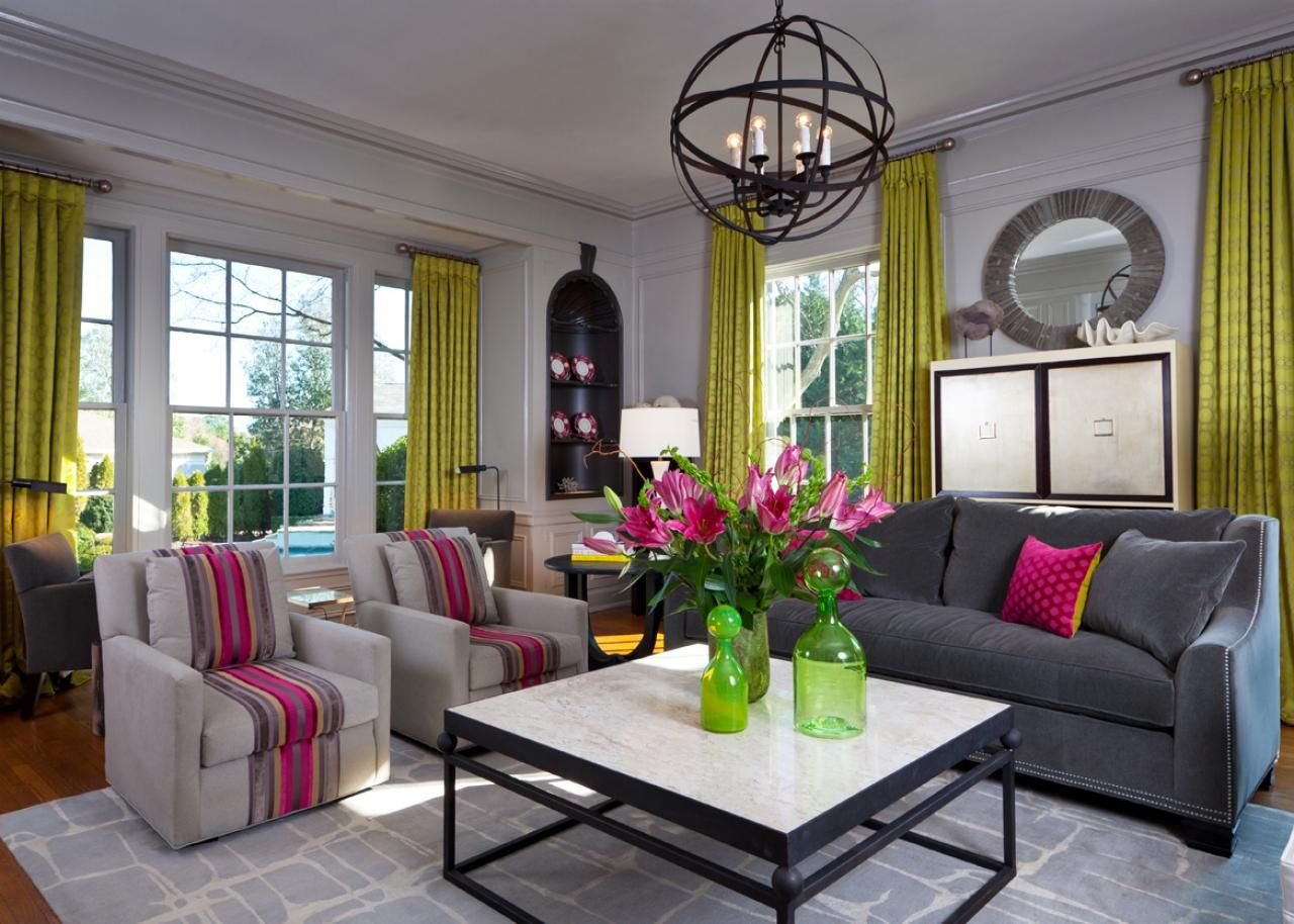 Bold Lime Green Curtains And Hot Pink Accents Pop In A Bright White Contemporary Family Living Rooms Contemporary Living Room Traditional Design Living Room