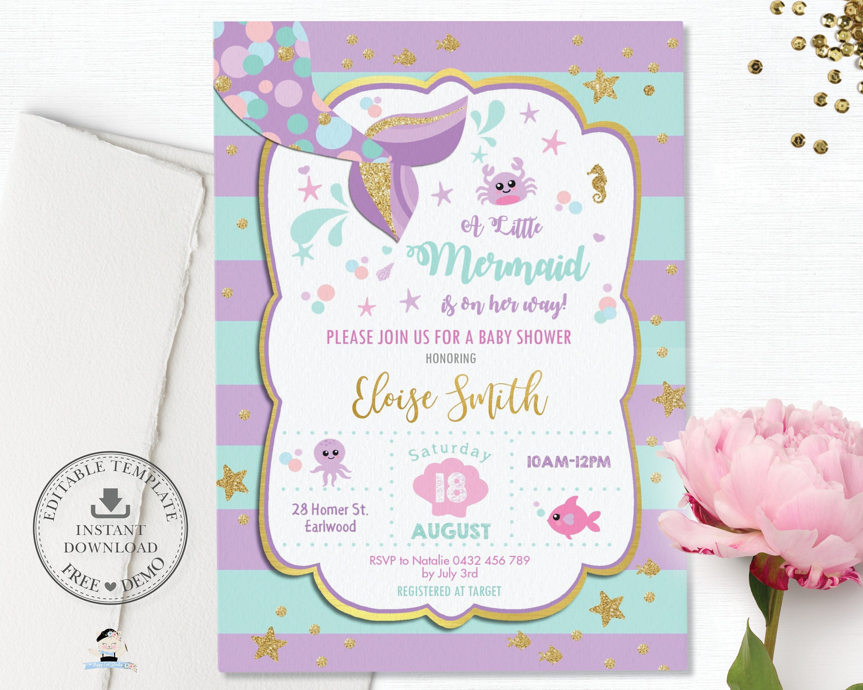Mermaid Baby Shower Invitation Editable Template Girl Mermaid Tail Turquoise Gold Purple Under The Sea Printable Pdf Instant Download Mt1 Mermaid Baby Shower Invitations Mermaid Invitations Mermaid Baby Showers