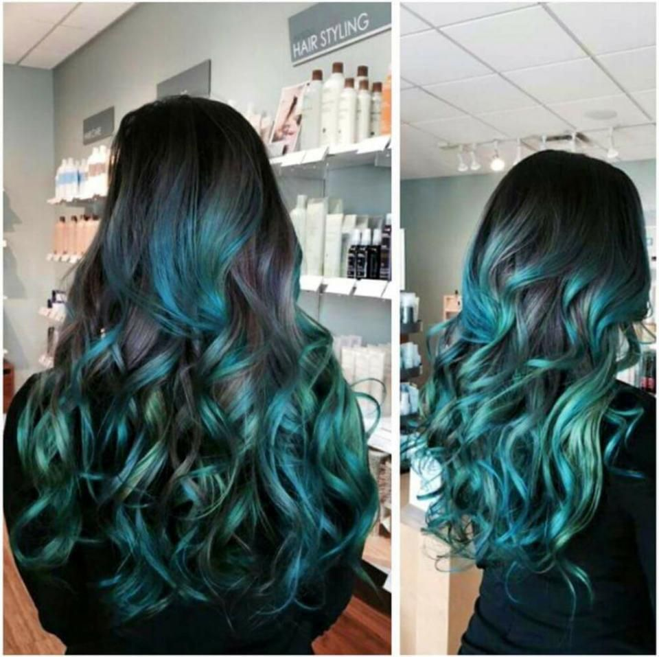COLOR CORRECTION: Mermaid Green Ombre - Hair Color | Color ...