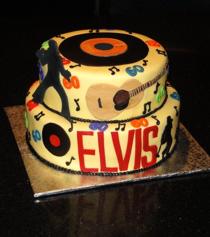 1950stheme60thbirthdaycake Tiered Cake With Elvis Silhouettes