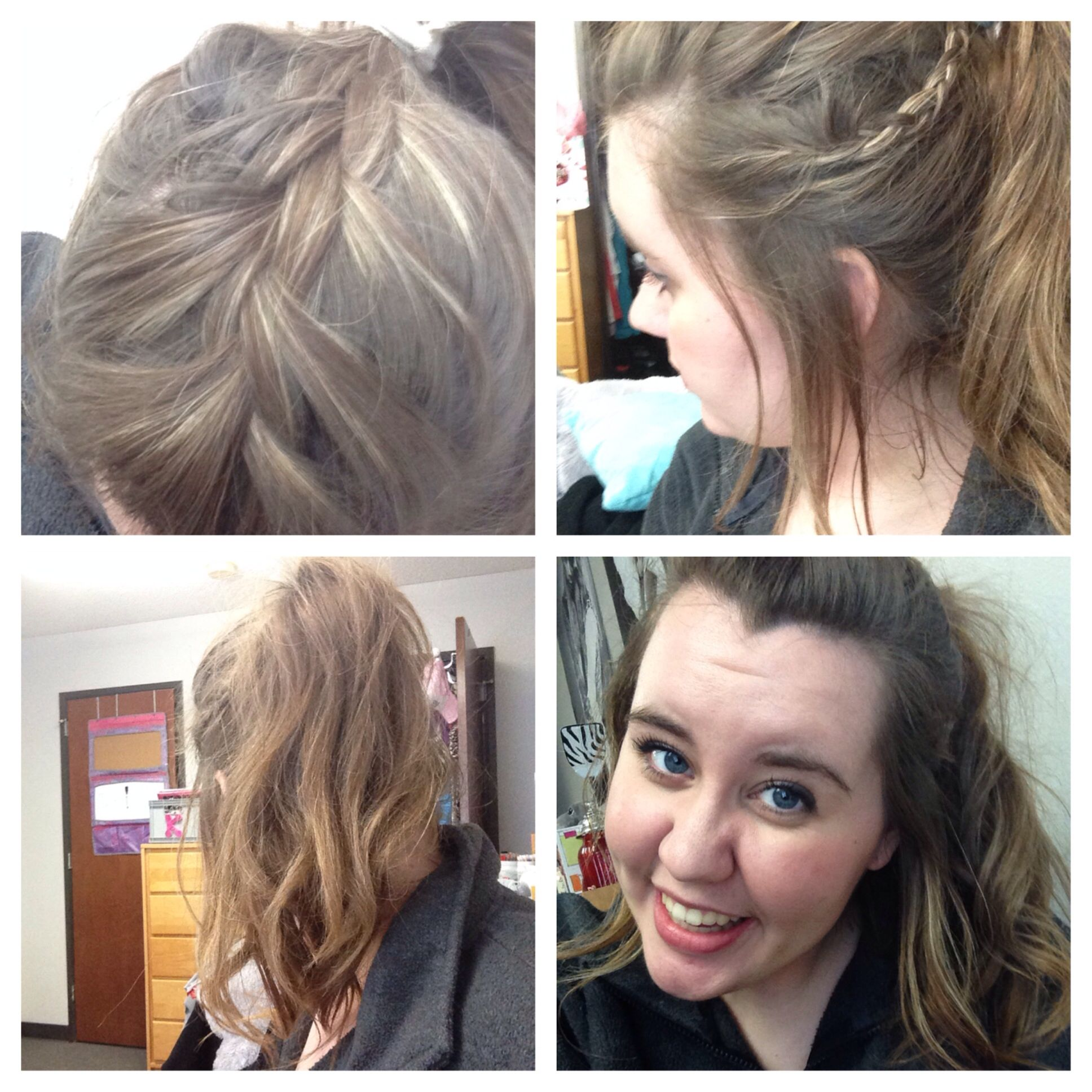 My hair was on point today braid pony tail curls hair