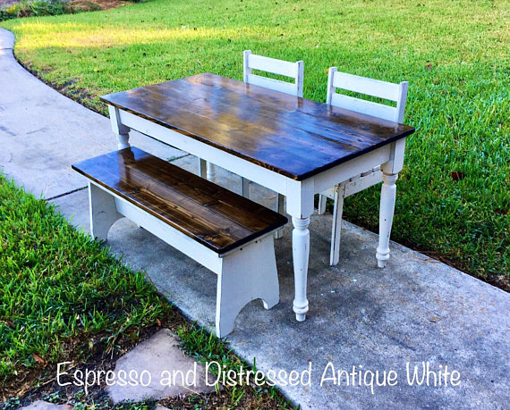 Terrific Kids Farmhouse Table With Your Choice Of 2 Chairs And 1 Alphanode Cool Chair Designs And Ideas Alphanodeonline