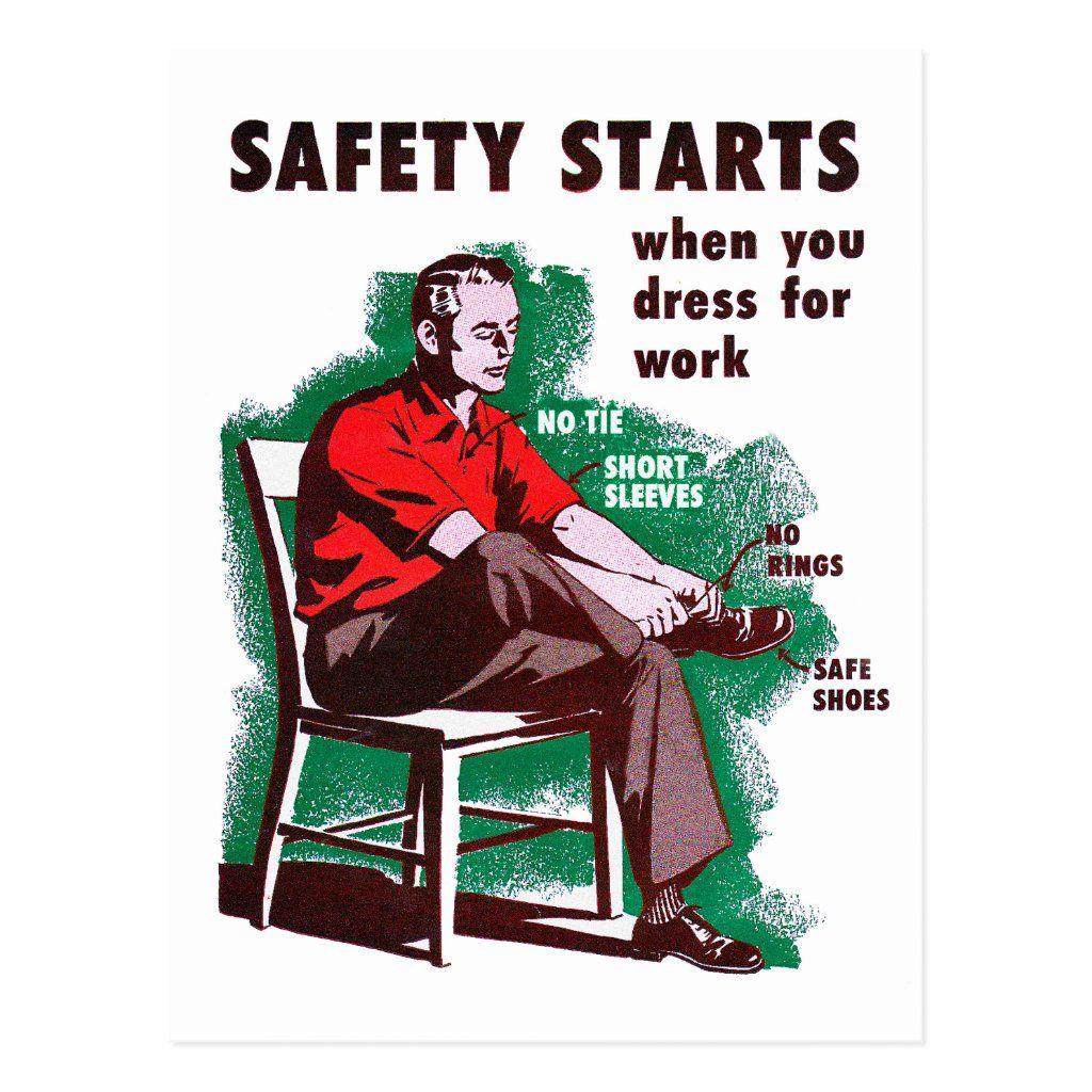 Vintage Retro Kitsch Work Safety Starts Poster Postcard