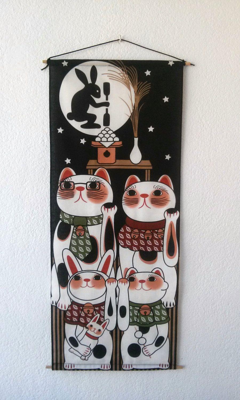 Maneki Neko tapestry hanging wall lucky cat  Rabbit and Eggs 32x14 inches 82x35 cm by Morondanga on Etsy
