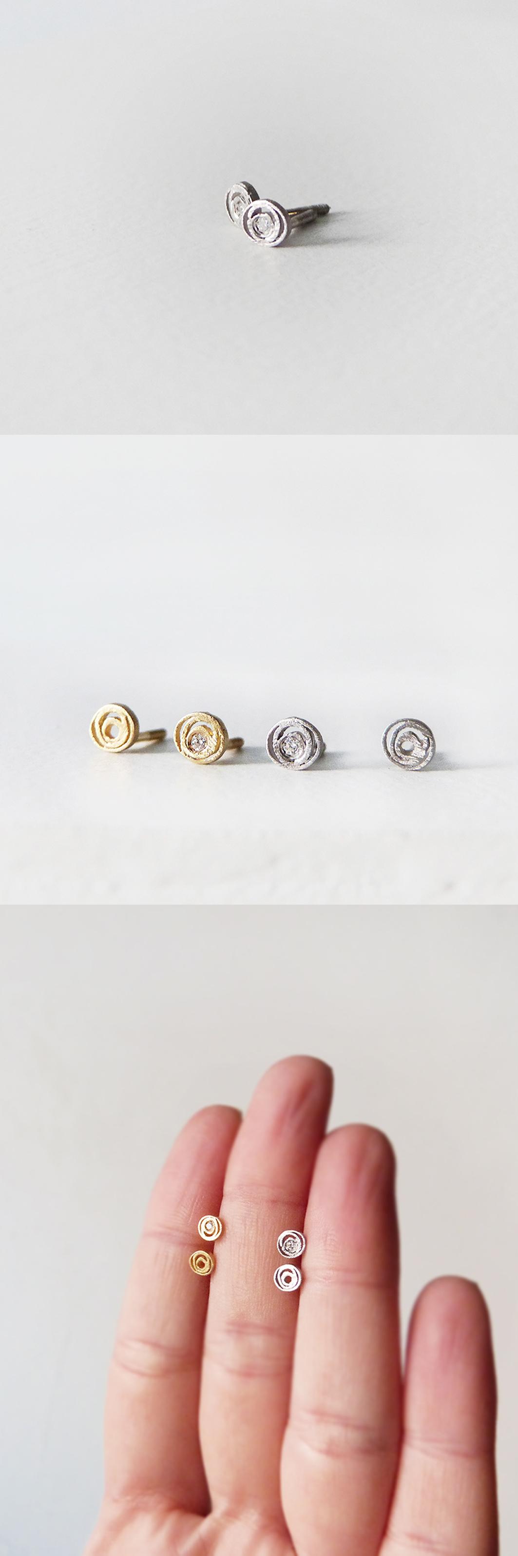 119c7ada90f2 Pendientes minis en oro blanco y amarillo