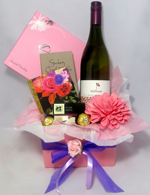 Wallflower Choc Gourmet Gift Hamper Wine Chocolate And All Things Delicious Send It As An Anniversary Or Birthday