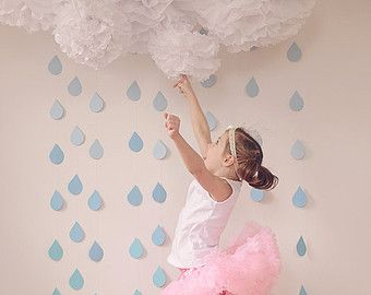 White Tissue Paper Pom Poms and Rain Drop by PaperwhiteDesigns