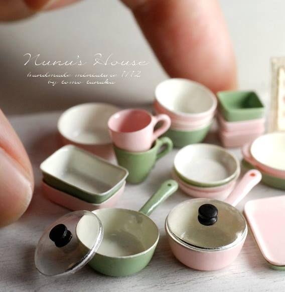 Cocina Cacerola ESMALTE Marrón Casa de muñecas en miniatura