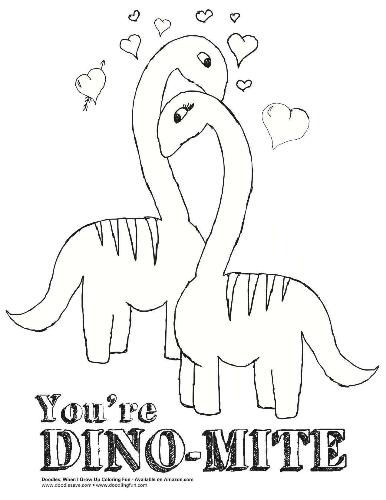 dinosaurus romance valentine animal kids coloring pages - Valentine Coloring Pages For Kids