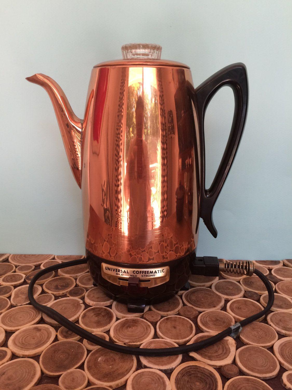 Universal Kitchen Appliances Universal Coffeematic Copper Colored Electric Percolator Vintage