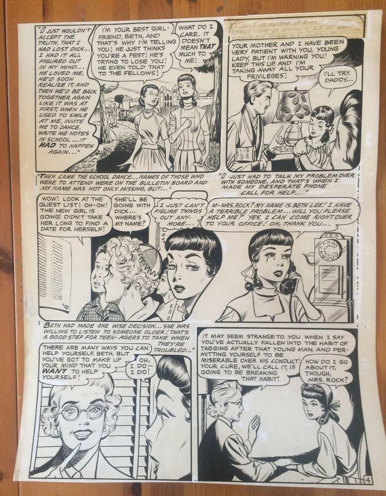 Vtg Comic Book Original Art Storyboard Young Romance Love Comics
