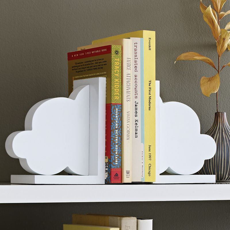 Set of 2 Cloud Bookends by Design Ideas. Pair of cloud shaped book ends to  organise your book collection.