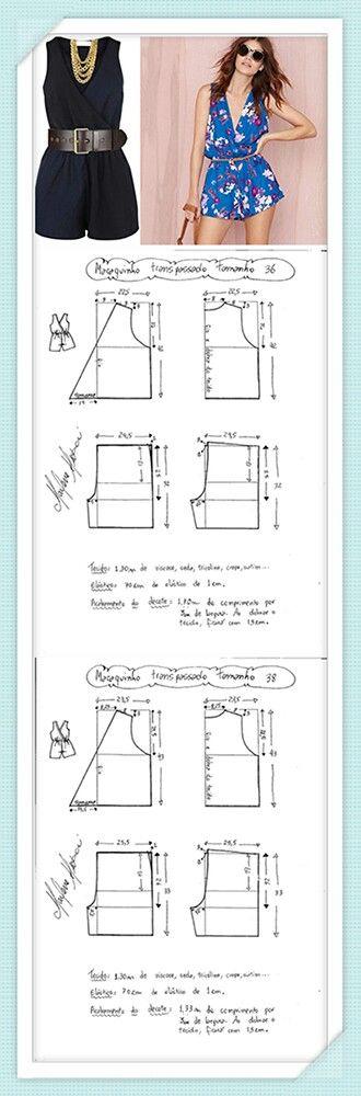 Enterizos | patrones | Costura, Patrones de costura y Bricolaje