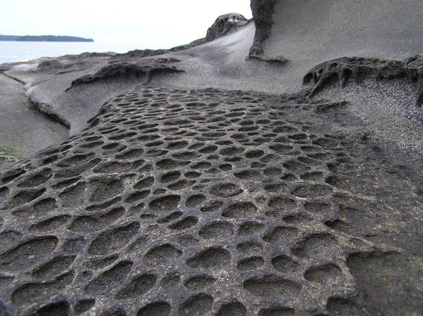 Weird Erosion in sandstone, georgina point, Mayne Island, BC